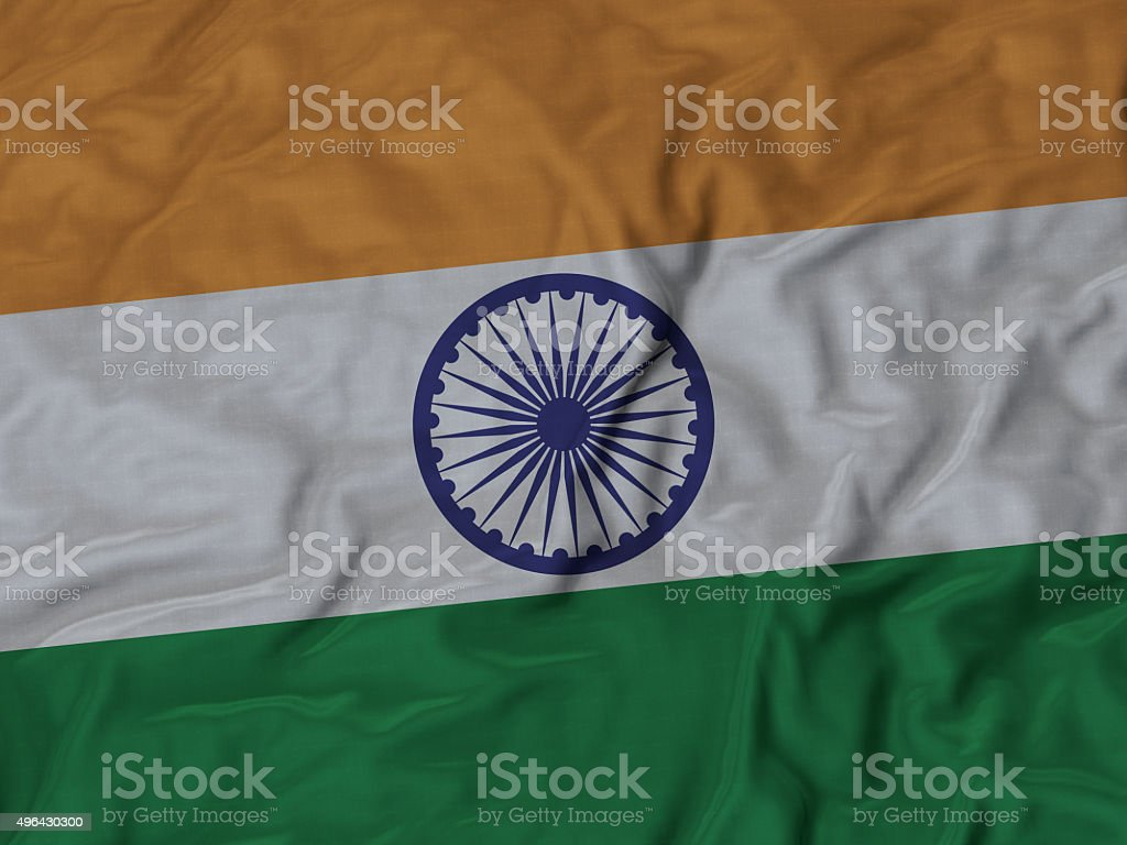 Close up of Ruffled India flag stock photo