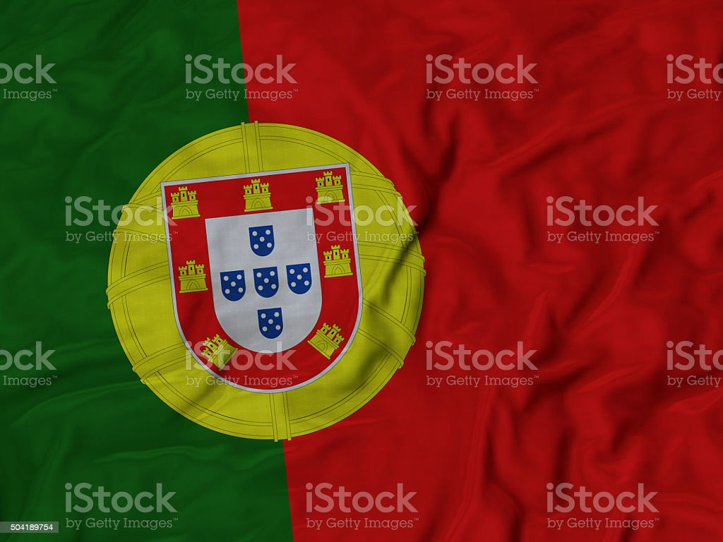 Close up of Ruffled Portugal flag stock photo