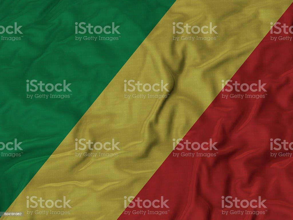 Close up of Ruffled Republic of the Congo flag stock photo