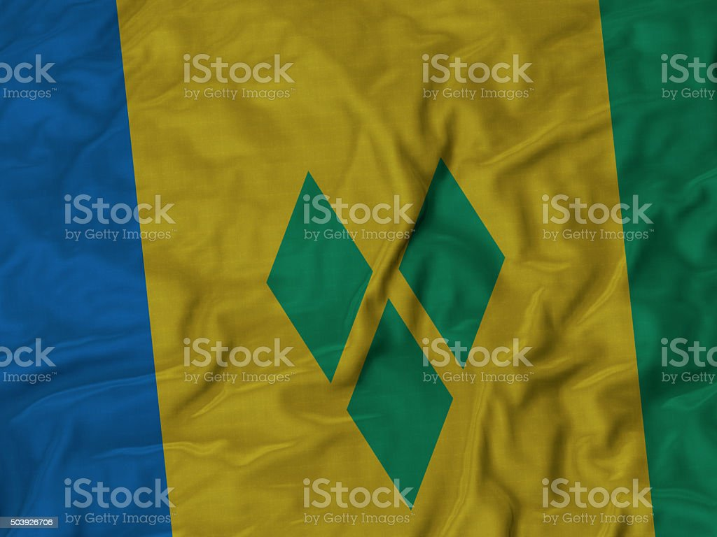 Close up of Ruffled Saint vincent and the Grenadines flag stock photo