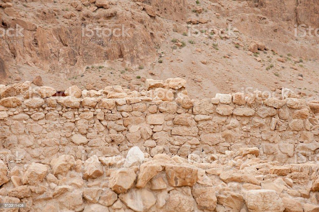Close up of ruins at Qumran caves in Israel stock photo
