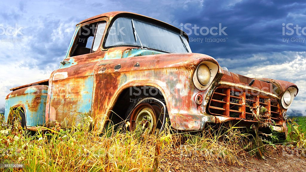 Close up of rusty vintage car. stock photo