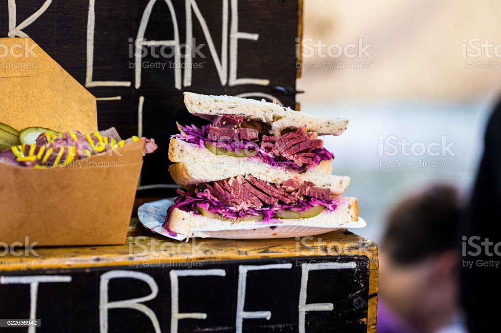 Close up of Salt Beef sandwich, Borough Market, London, UK stock photo