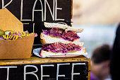 Close up of Salt Beef sandwich, Borough Market, London, UK
