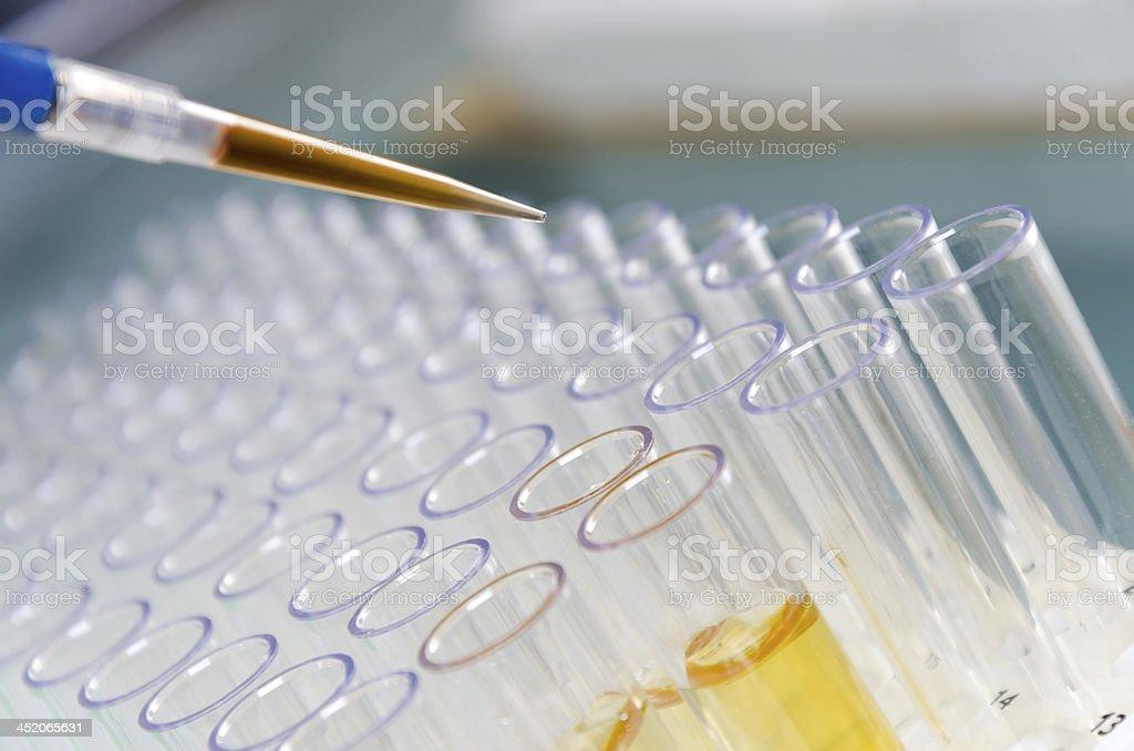 Close up of sample process stock photo