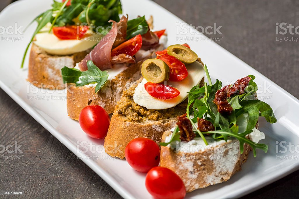 close up of sandwiches on a plate stock photo