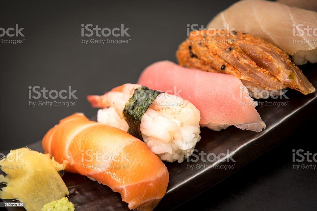close up of sashimi sushi set stock photo