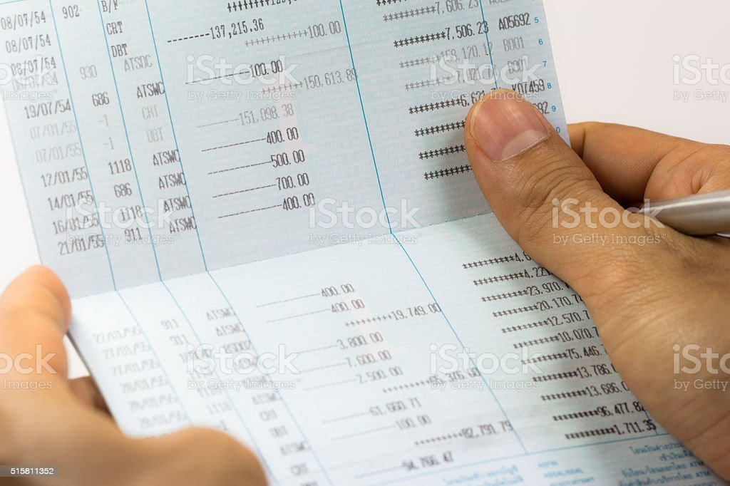 Close up of saving account passbook stock photo