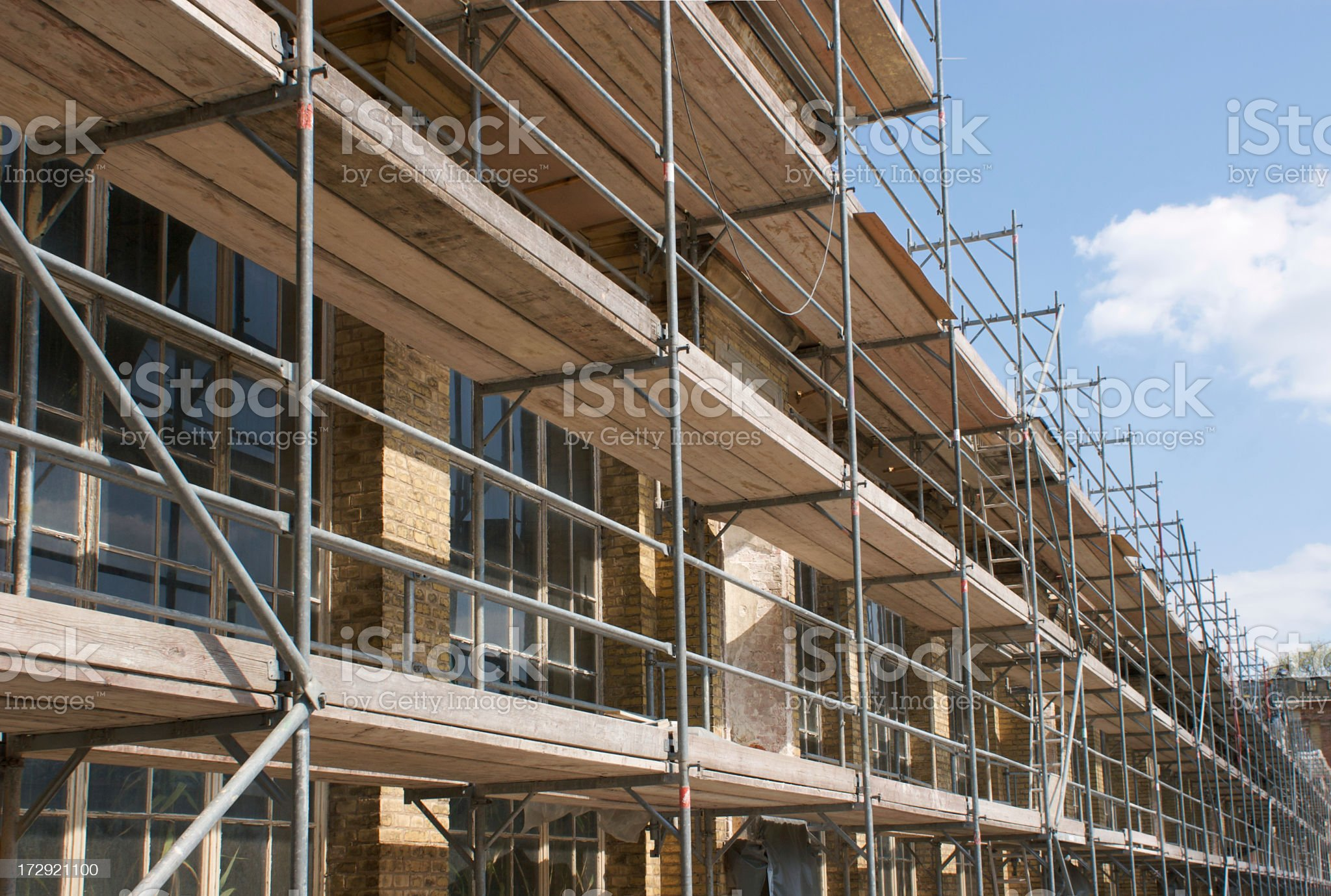 Close up of scaffolding along the side of a building royalty-free stock photo
