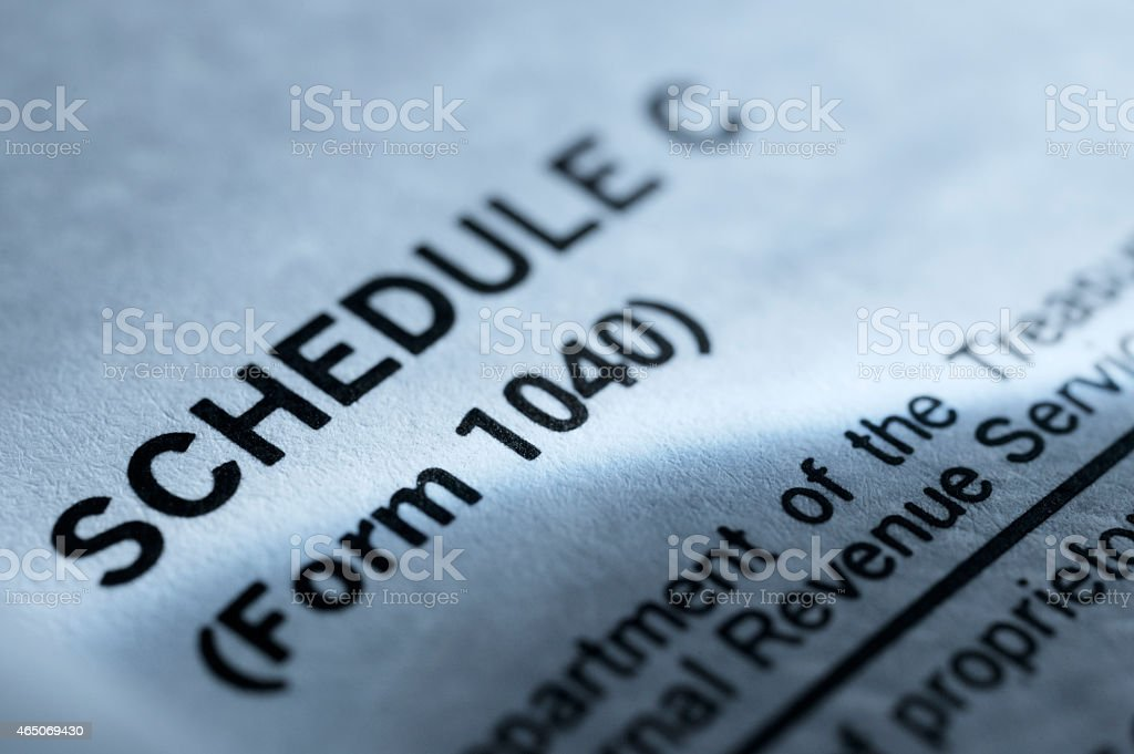 Close up of Schedule C from 1040 Tax Form stock photo