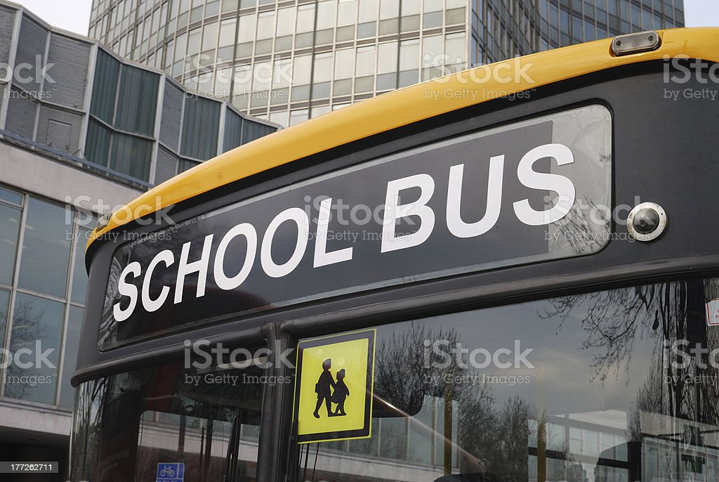 Close up of School bus in London royalty-free stock photo