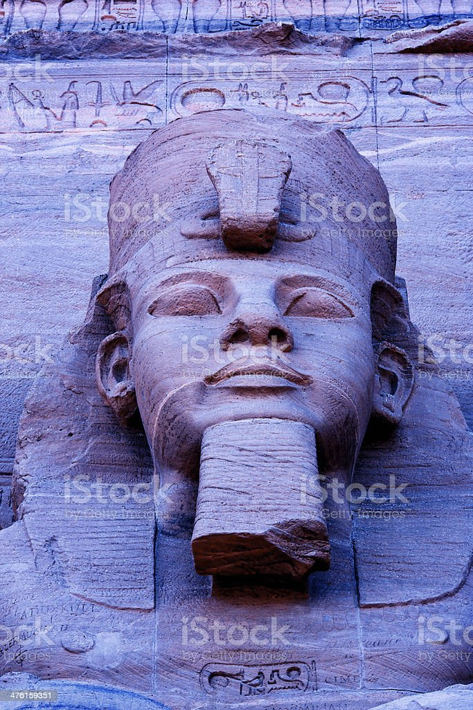 Close up of sculpture on Great Temple Ramses stock photo