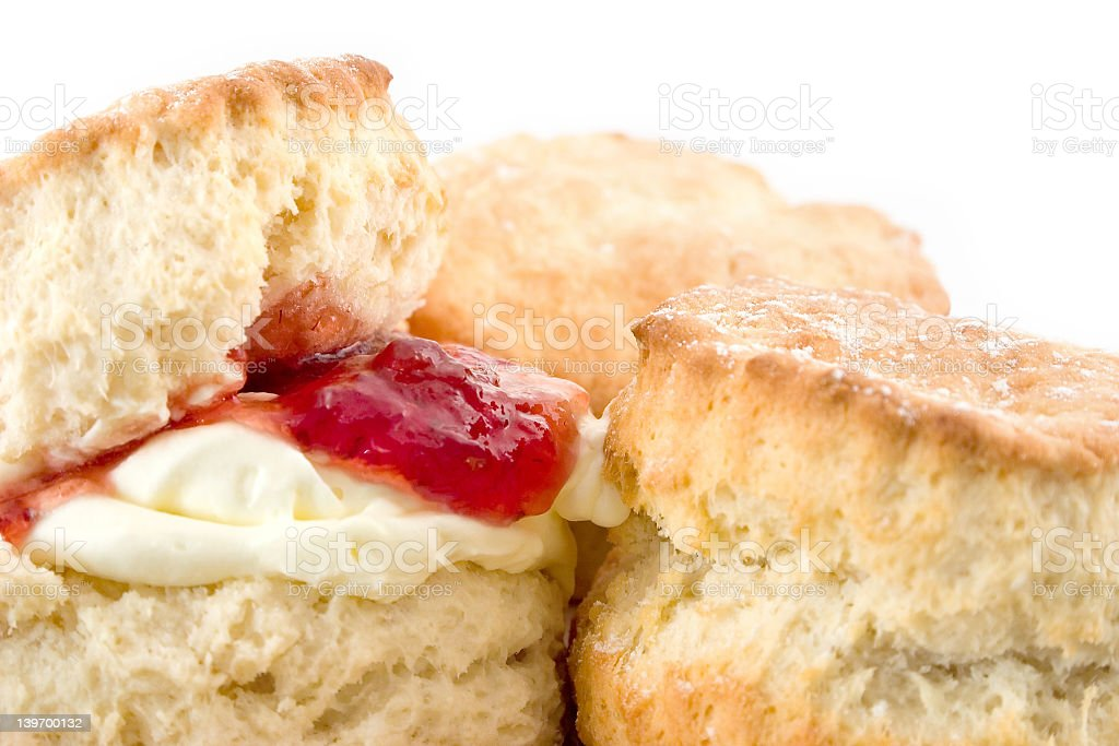 Close up of seconded with butter and jam stock photo