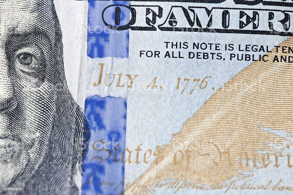 Close Up of Security Strip on Hundred Dollar Bill royalty-free stock photo