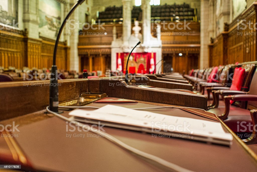 Close Up of Senator's Desk in the Canadian Senate stock photo