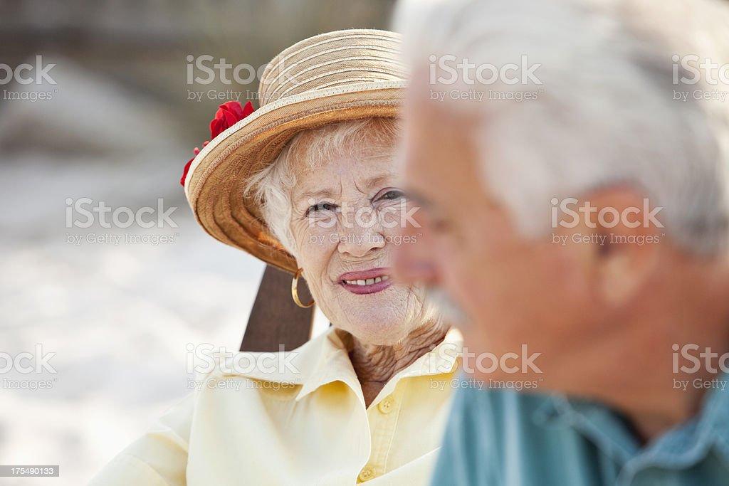 Close up of senior couple at beach royalty-free stock photo