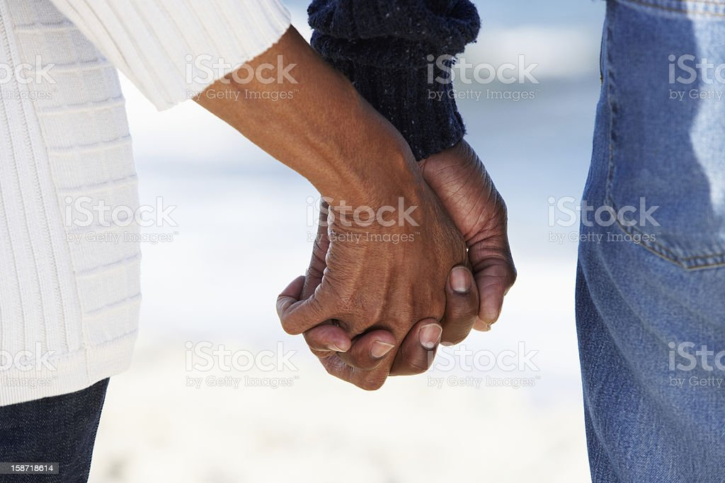 Close Up Of Senior Couple Holding Hands stock photo
