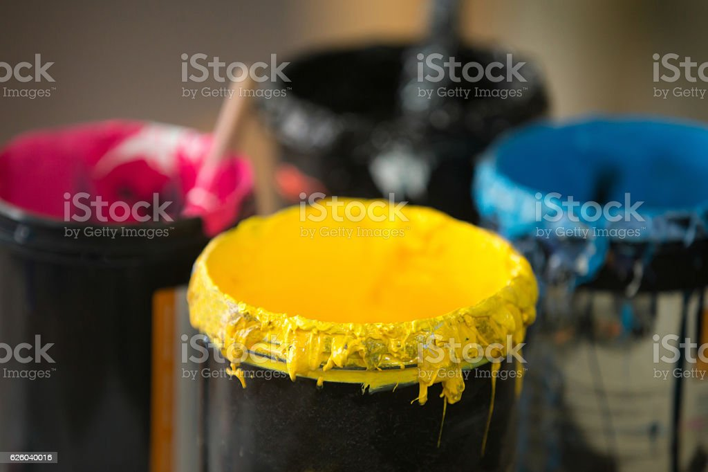 Close up of serigraphy printing ink stock photo