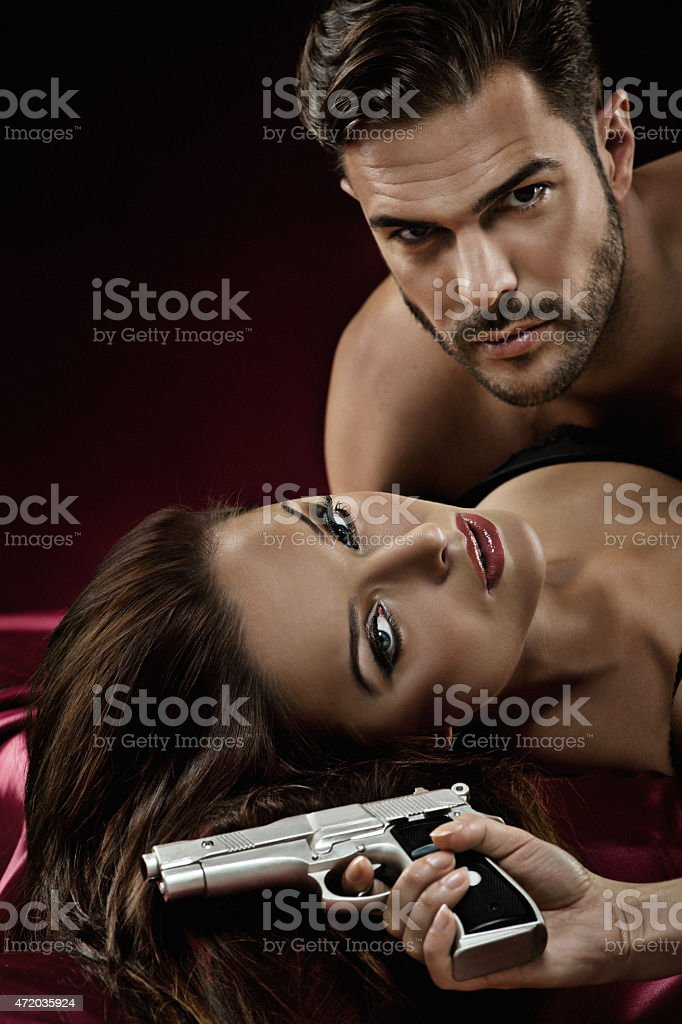 close up of sexy couple in bed stock photo