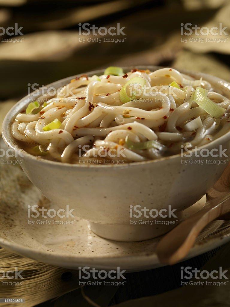 Close up of Shanghai Noodle Soup stock photo