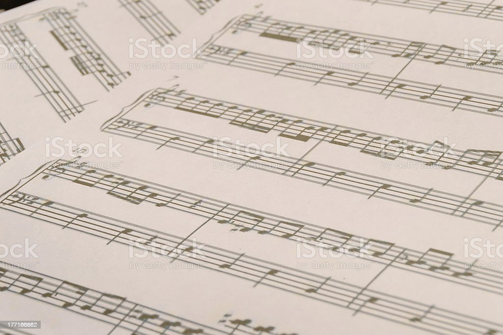Close up of sheet music royalty-free stock photo