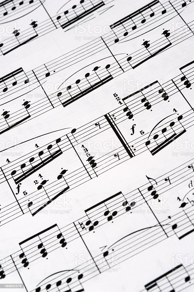 Close up of sheet music royalty-free stock photo
