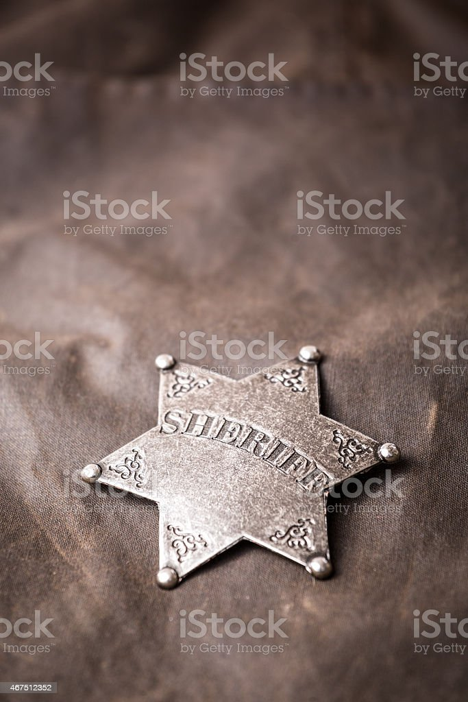 Close up of sheriff badge stock photo