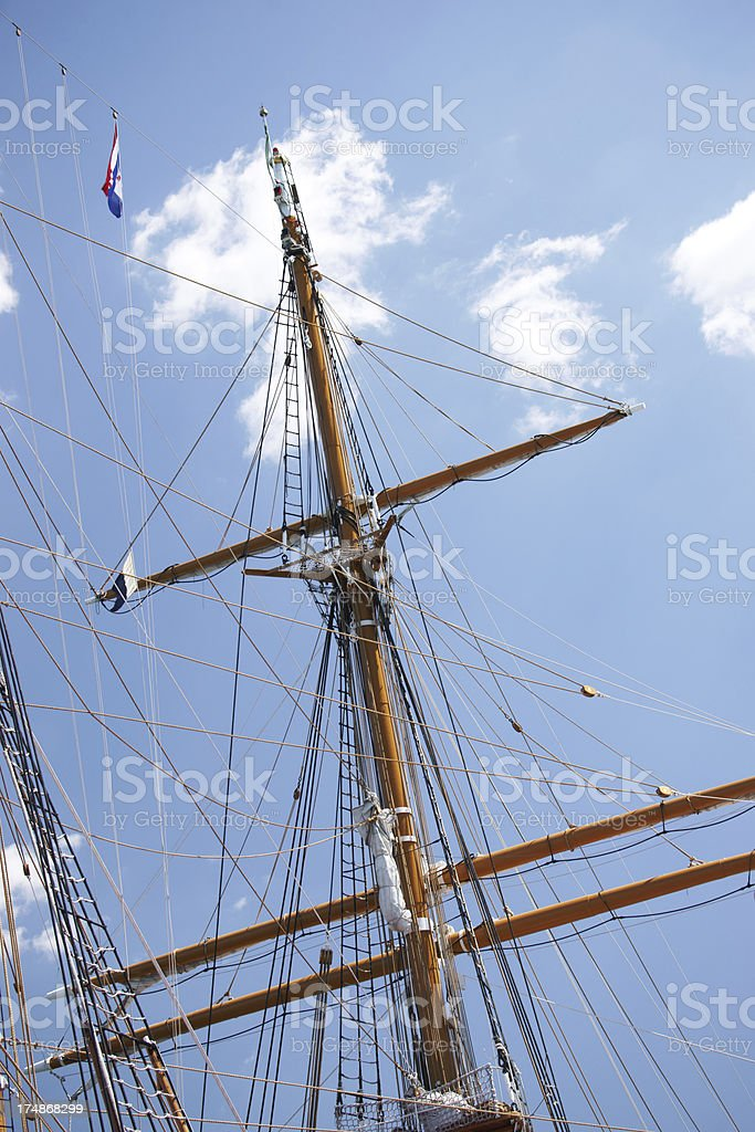 Close up of ship's mast from below royalty-free stock photo