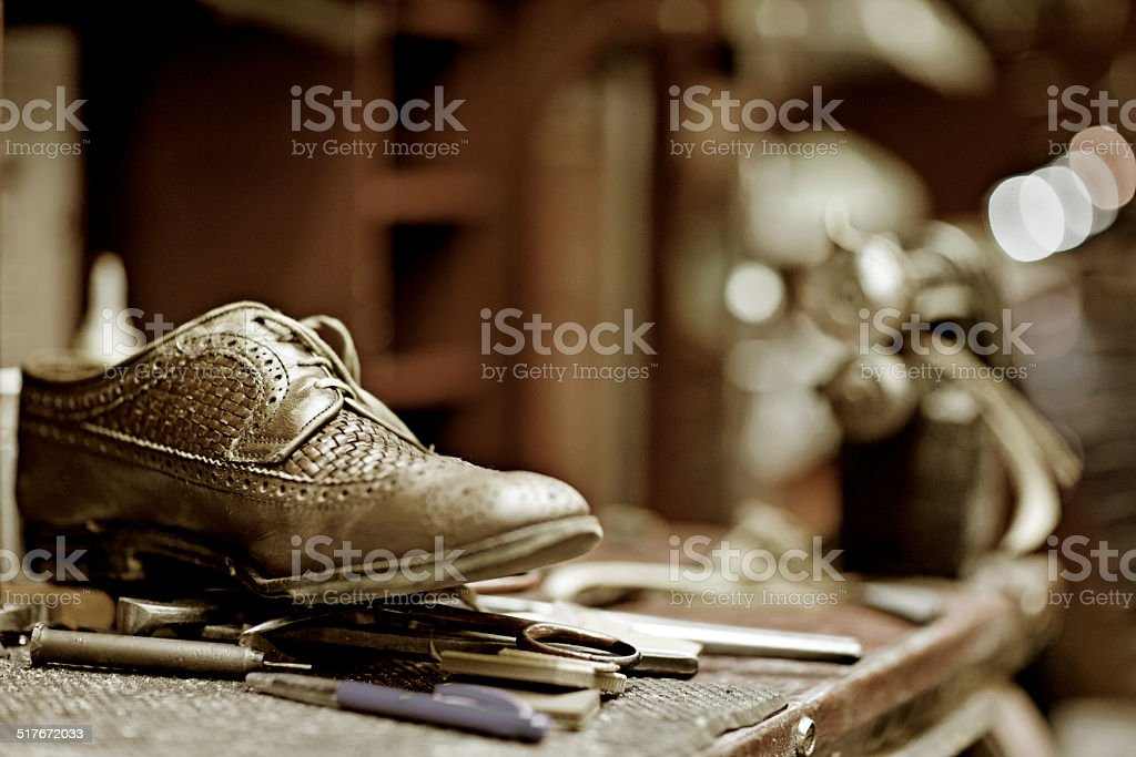close up of shoe at the workshop stock photo
