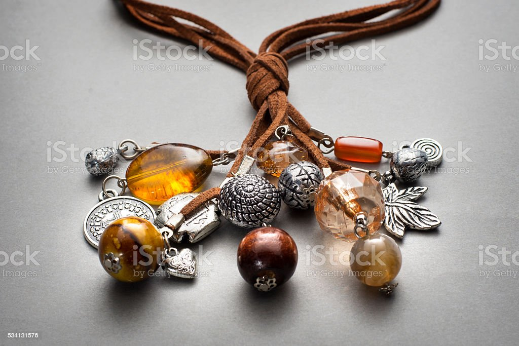 Close up of silver and glass beaded necklaces stock photo