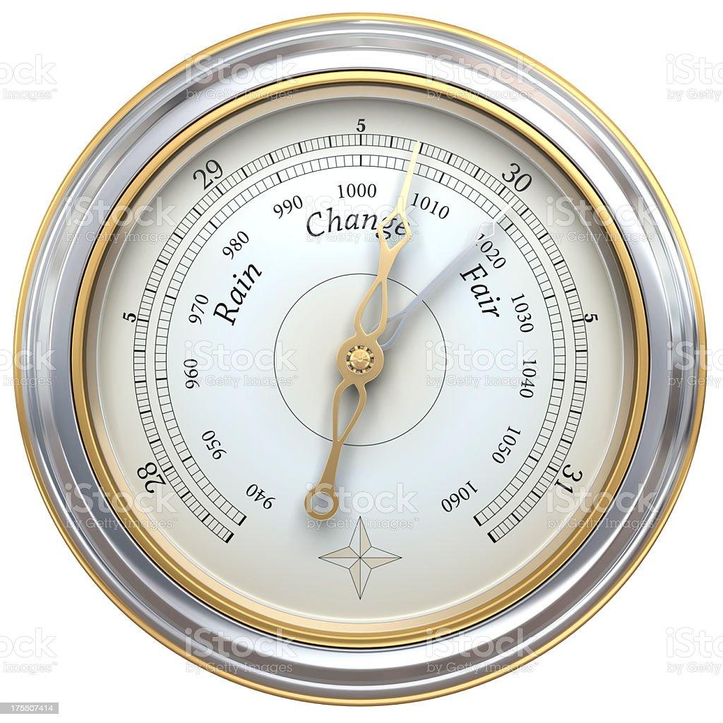 Close up of silver and gold barometer on white background stock photo