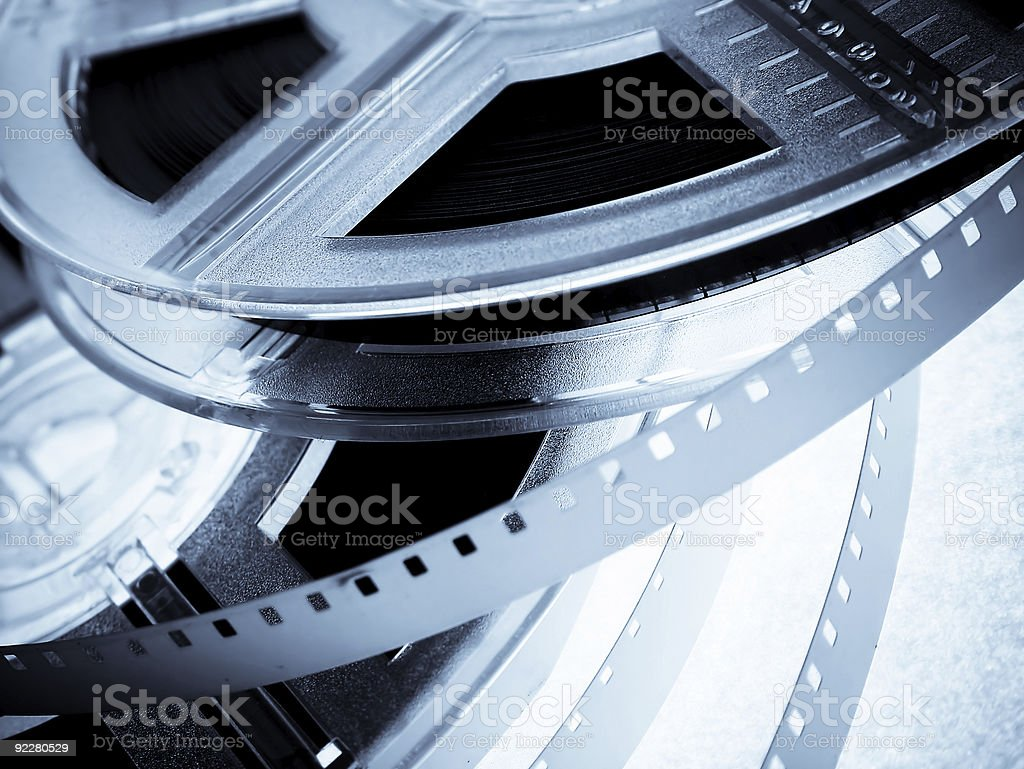 Close up of silver film reels  stock photo