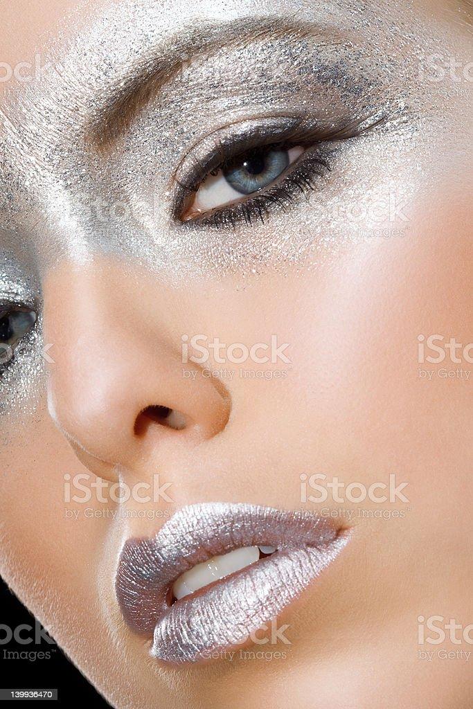 close up of silver make-up royalty-free stock photo