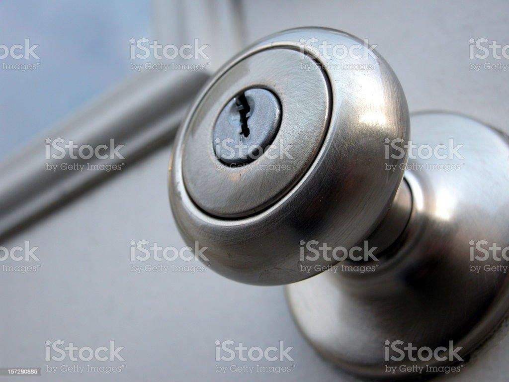 Close up of silver metal doorknob stock photo