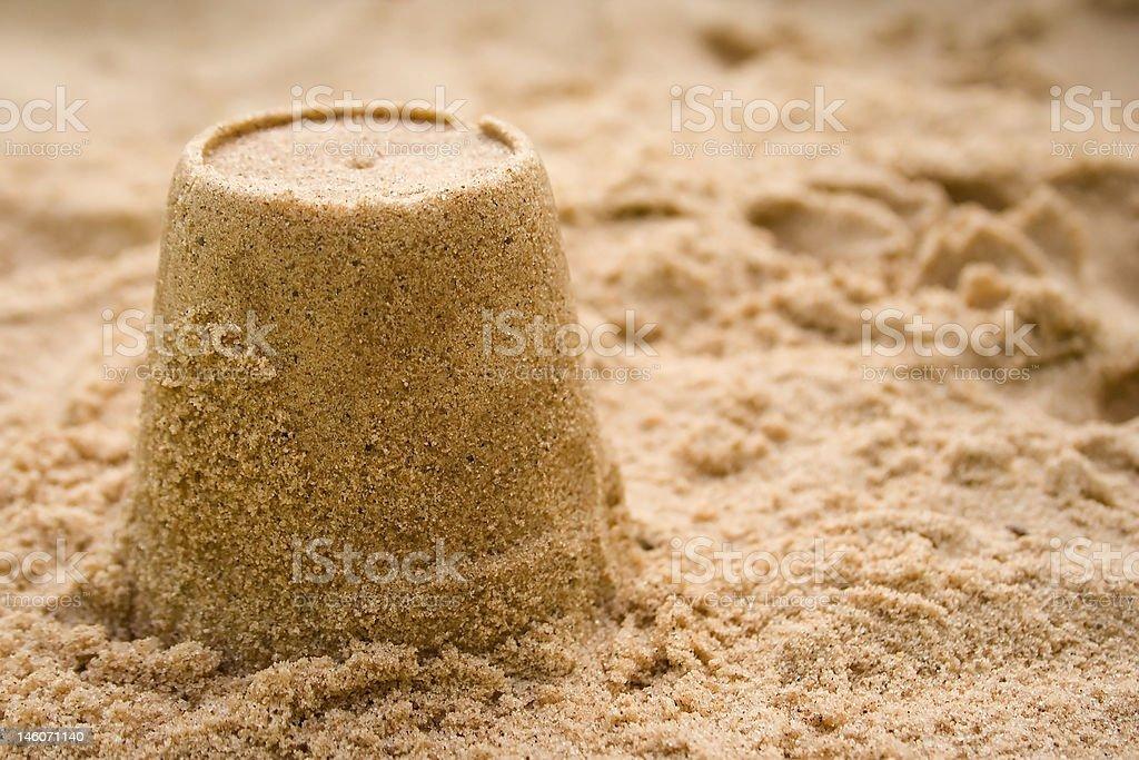 Close up of single Sandcastle stock photo
