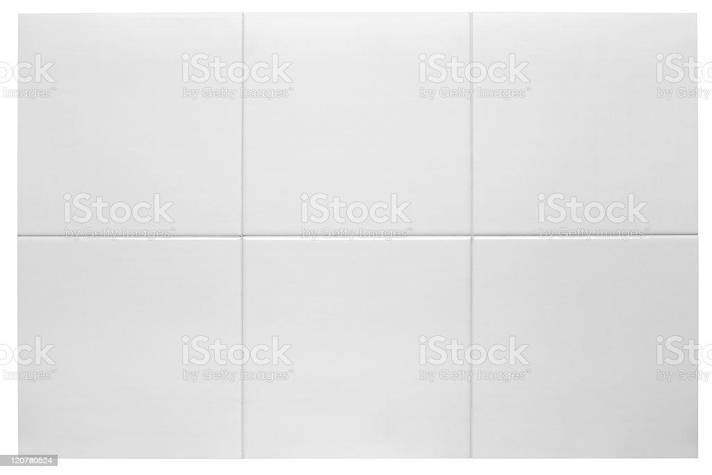 Close up of six white bathroom tiles stock photo
