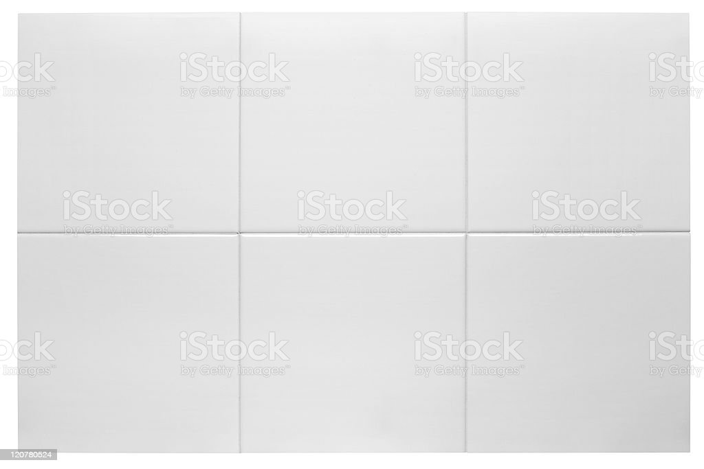 Close up of six white bathroom tiles stock photo