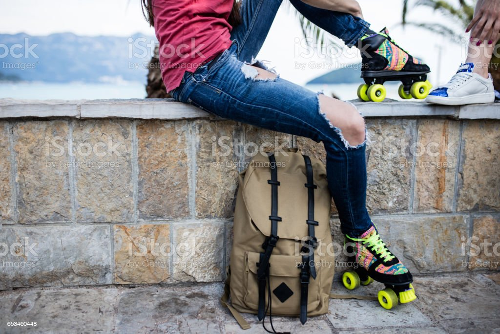 Close up of skaters backpack stock photo