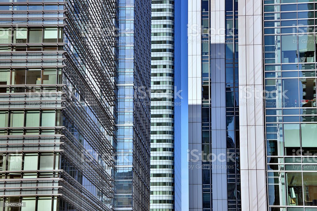 Close up of skyscrapers, Docklands, Canary Wharf, London, UK royalty-free stock photo