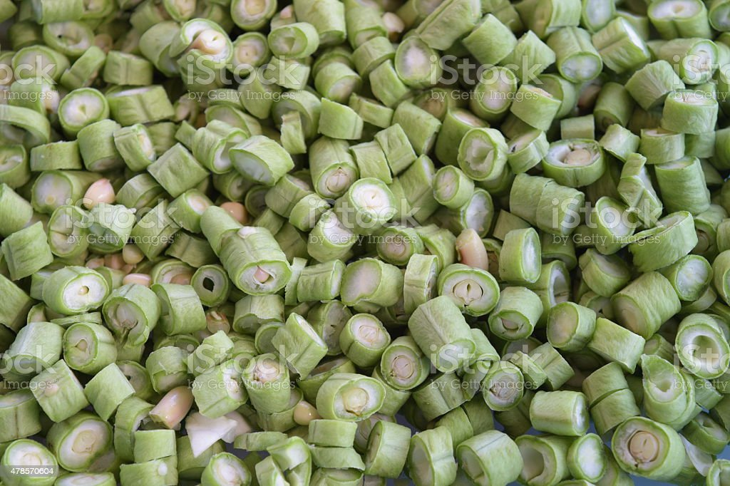 Close up of sliced fresh cowpea beans stock photo