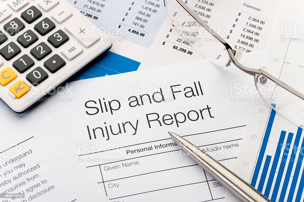 Close up of Slip and Fall injury Form stock photo