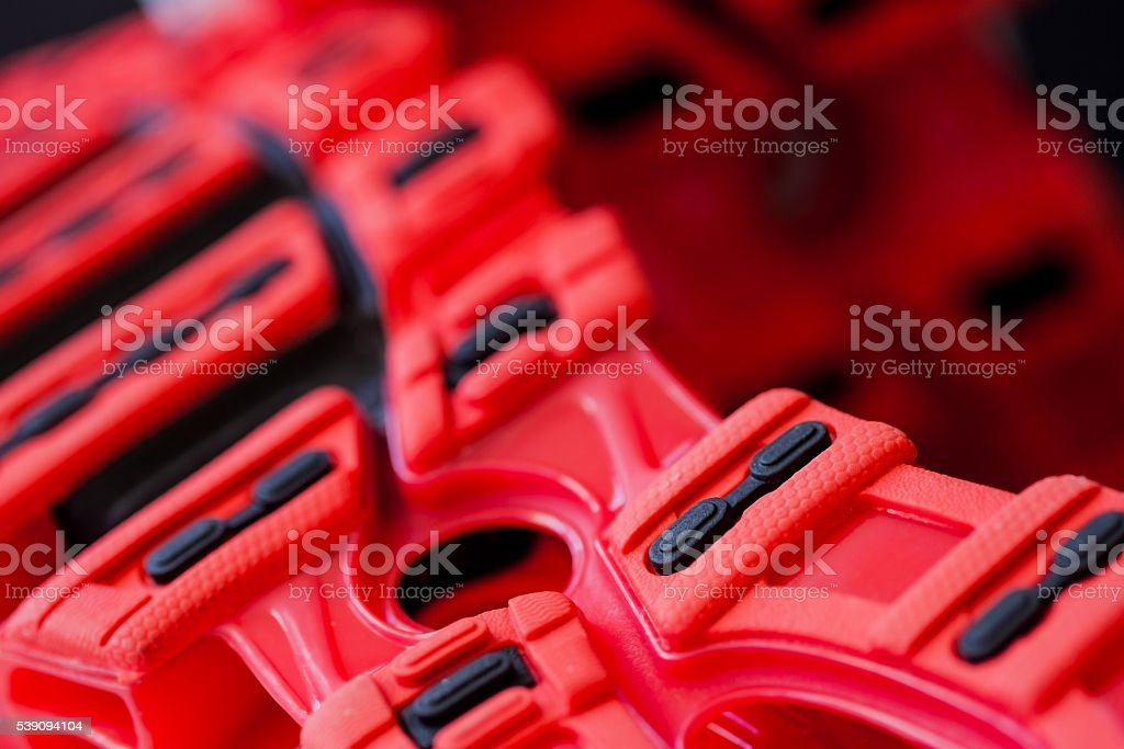 Close up of sneakers sole stock photo