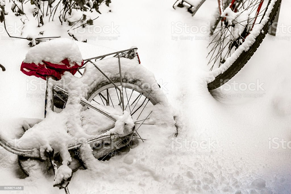 close up of snow cropped bicycles sticking in the snow stock photo
