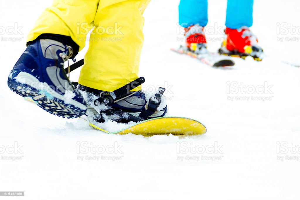 Close up of snowboard stock photo