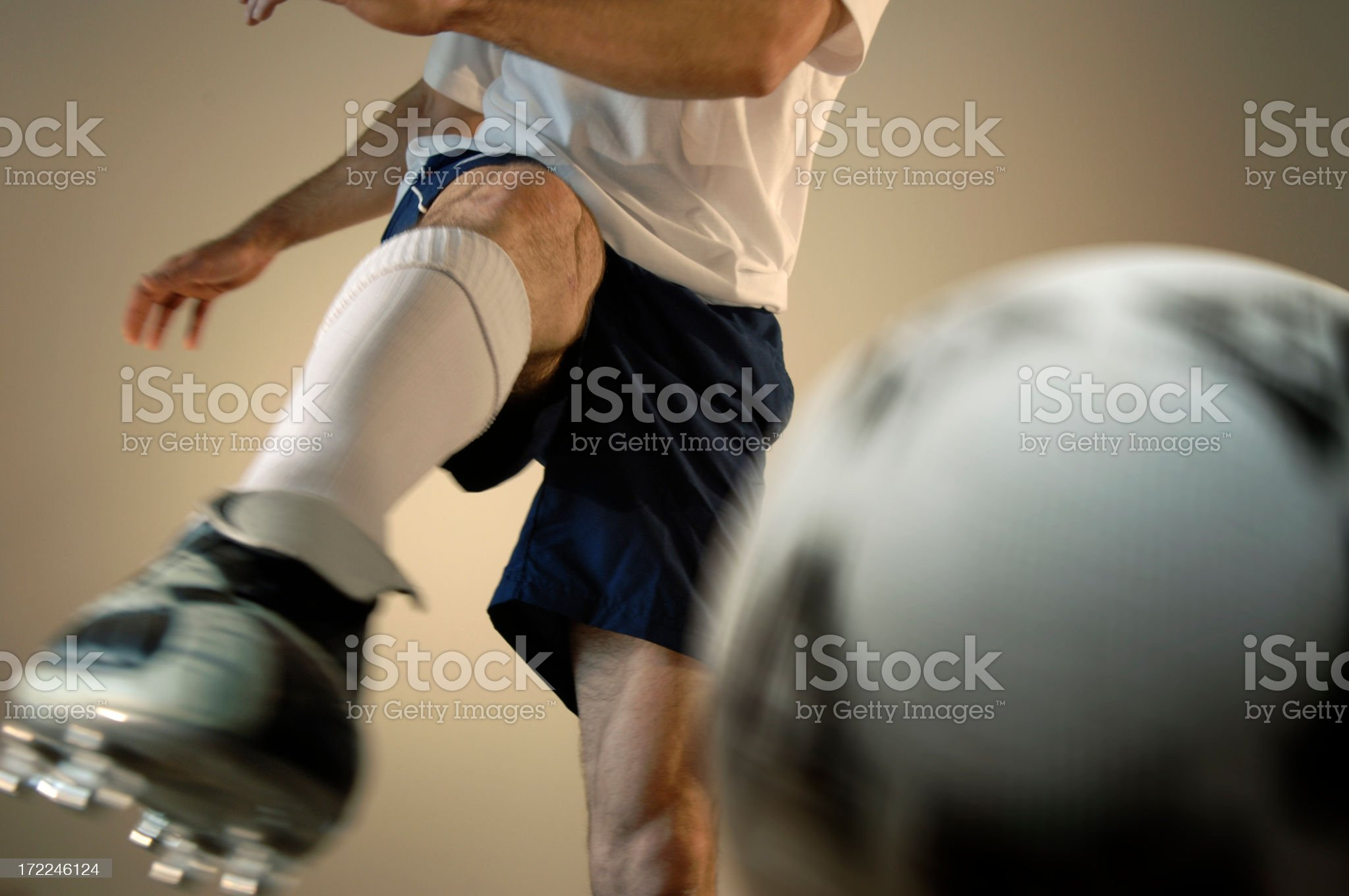 Close Up of Soccer Player in Action royalty-free stock photo