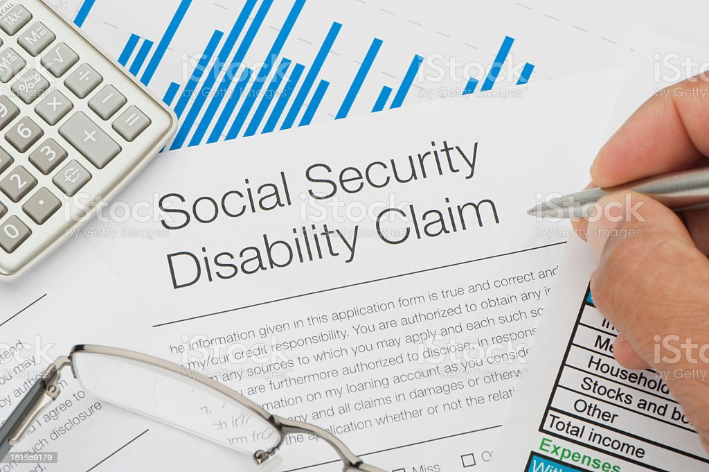Close up of Social Security Disability Claim royalty-free stock photo