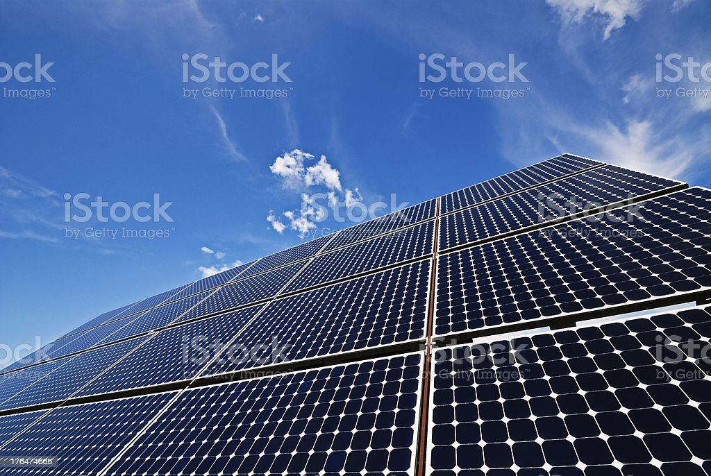 Close up of solar panel stock photo