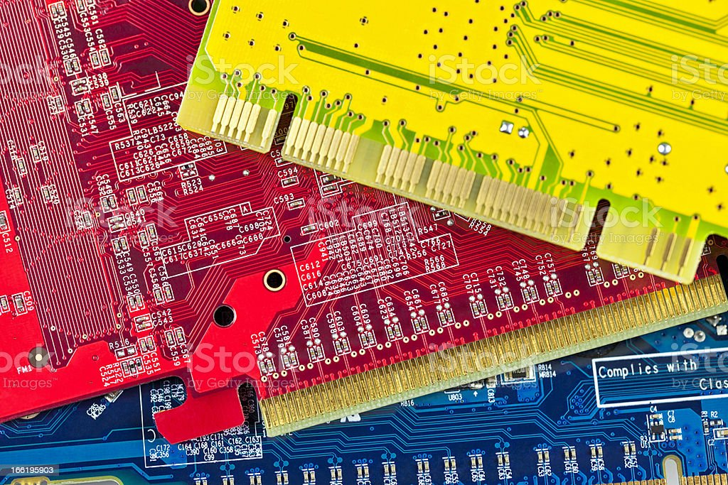 Close up of some computer microcircuit royalty-free stock photo