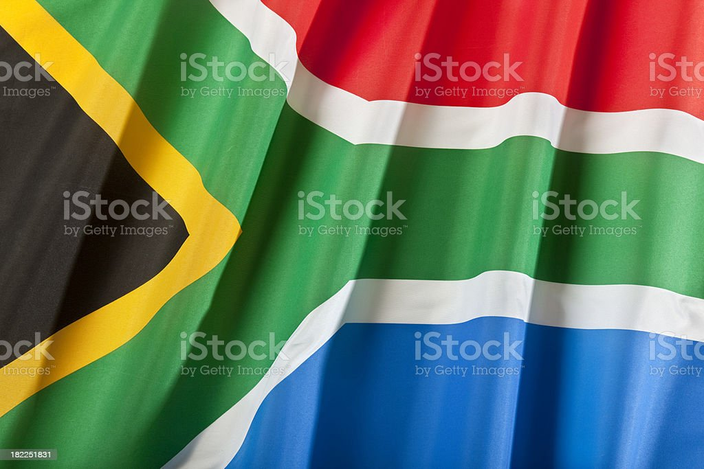 Close up of south african flag royalty-free stock photo