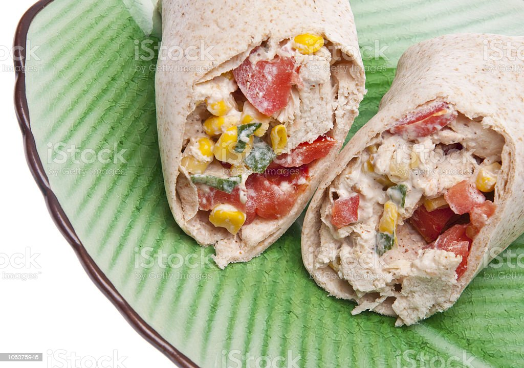 Close Up of Southwestern Chicken Salad Wrap royalty-free stock photo